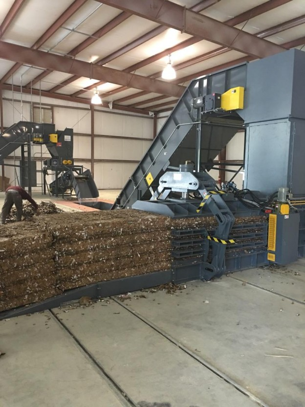 Cardboard recycler at a recycling facility in southern New Jersey